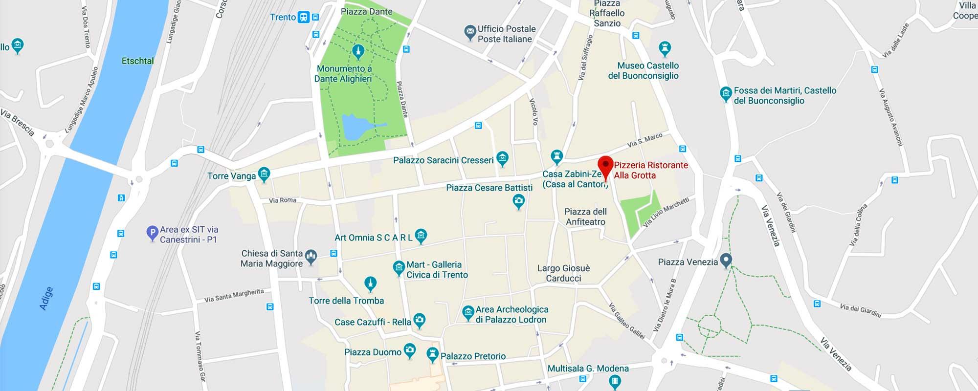 Mappa Trento centro storico e principali attrazioni